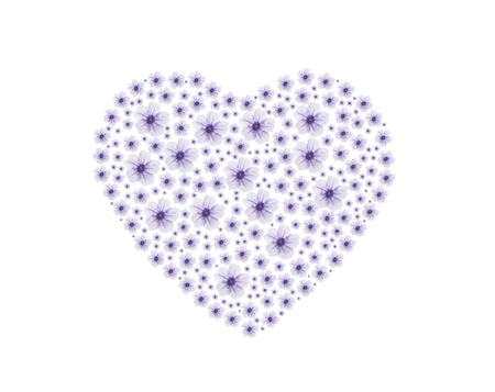 purple vintage heart flower Stock Photo
