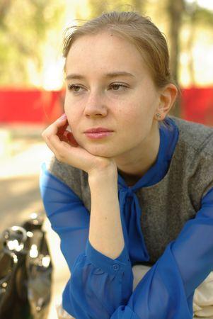 a pretty white thoughtful girl, portrait