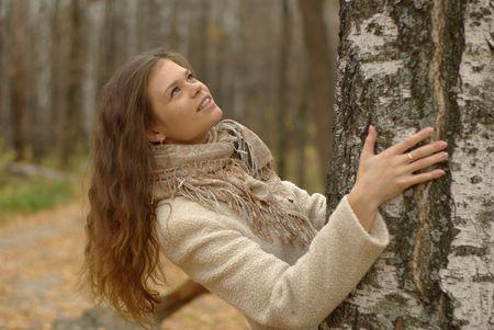 Female and birch tree
