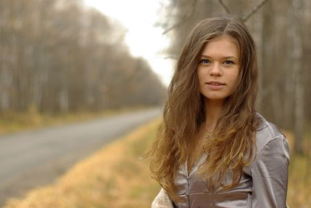 portrait of a girl on a road Stock Photo