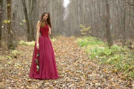 Femalle in dress with a rose in the forest