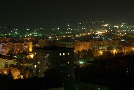 Cityscape with blocks of flats at night Stock Photo