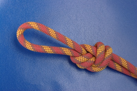 Climbing rope on blue photo