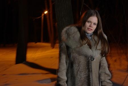 Female in fur coat photo