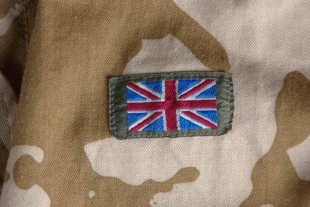 British camouflage uniform with flag photo