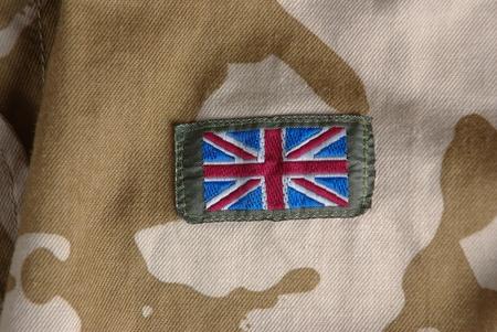 British camouflage uniform with flag Stock Photo