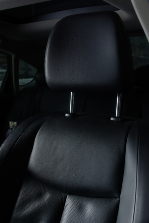 Black leather seat in a car photo