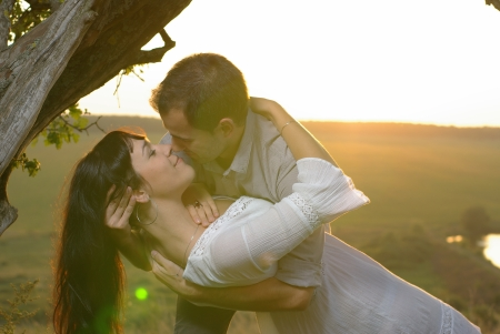 sweethearts: Couple sweethearts kissing under tree at sunset Stock Photo