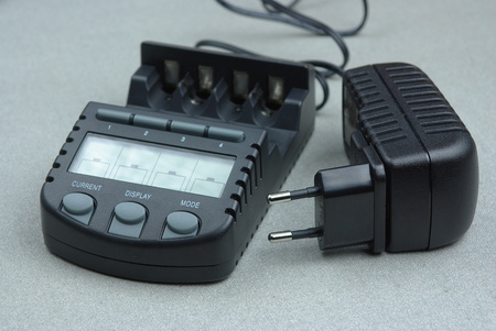 electronic energizer: Battery charger with ac adapter Stock Photo
