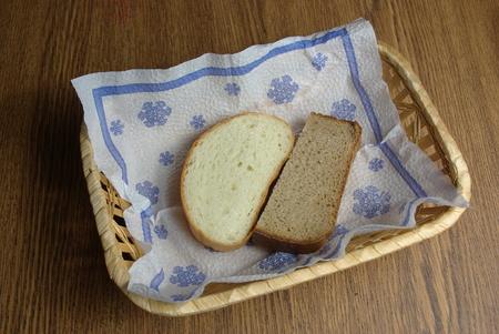 Two slices of bread in wicker basket on napkin