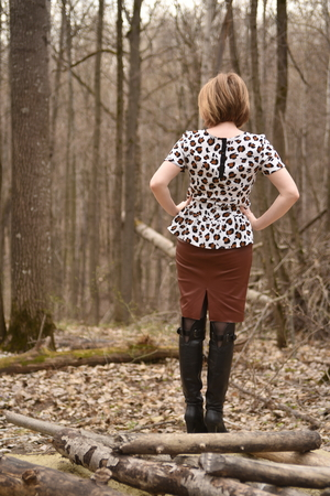 Female in forest Stock Photo