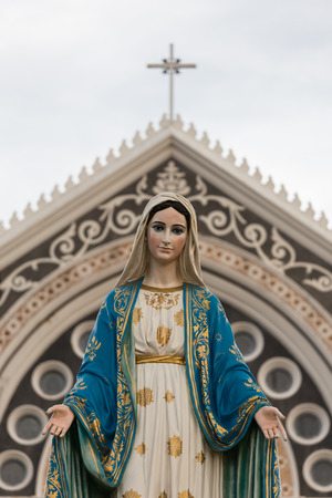 beautiful jesus: Saint Mary or the Blessed Virgin Mary, the mother of Jesus, in front of the Roman Catholic Diocese or Cathedral of the Immaculate Conception, Chanthaburi, Thailand. Stock Photo