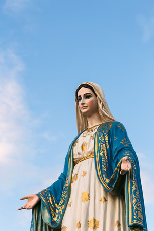 Mother Mary: Saint Mary or the Blessed Virgin Mary, the mother of Jesus, in front of the Roman Catholic Diocese or Cathedral of the Immaculate Conception, Chanthaburi, Thailand. Stock Photo