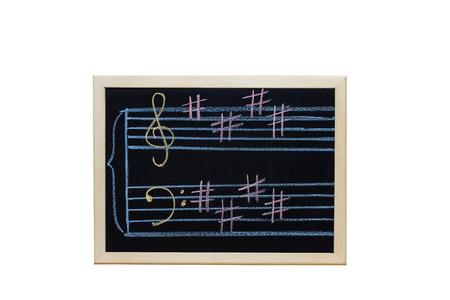 music staff: music staff in key E written on blackboard Stock Photo