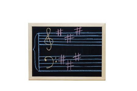 music staff: music staff in key A written on blackboard Stock Photo