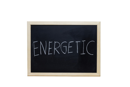 exalted: ENERGETIC written with white chalk on blackboard. Stock Photo