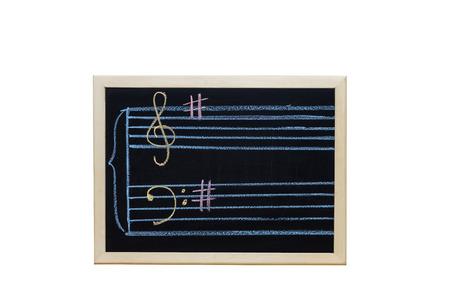 music staff: music staff in key G written on blackboard Stock Photo