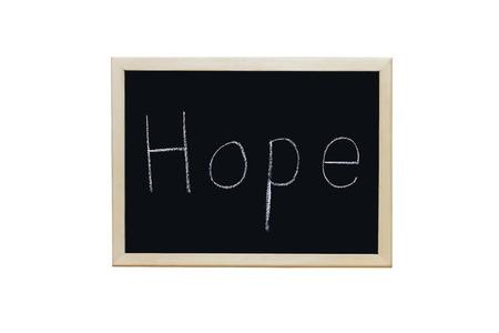 accredit: Hope written with white chalk on blackboard.
