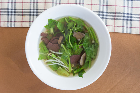 entrails: Chinese clear soup with boiled entrails and vegetables.