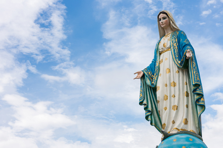 The Blessed Virgin Mary in front of the Roman Catholic Diocese, public place in Chanthaburi,  Thailand. Banque d'images
