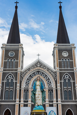 obey: The Blessed Virgin Mary in front of the Roman Catholic Diocese, public place in Chanthaburi,  Thailand. Foto de archivo