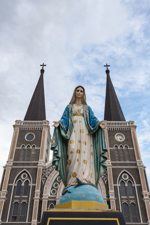 The Blessed Virgin Mary in front of the Roman Catholic Diocese, Thailand. Stock Photo
