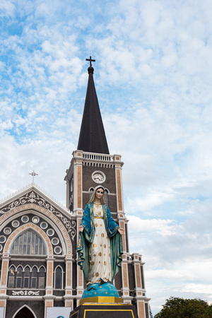 The Blessed Virgin Mary in front of the Roman Catholic Diocese, public place in Chanthaburi,  Thailand. Stock Photo