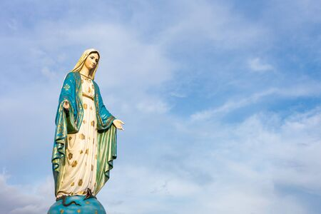 The Blessed Virgin Mary in front of the Roman Catholic Diocese, public place in Chanthaburi, Thailand. Archivio Fotografico