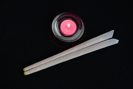 ear buds: Tray of ear candling equipment at the spa Stock Photo