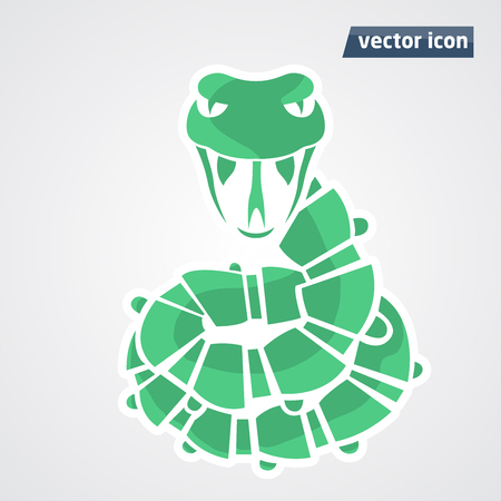 year of the snake: abstract green snake in vector