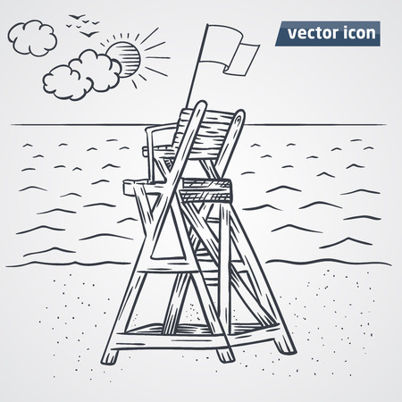 Lookout tower on beach vector hand drawn