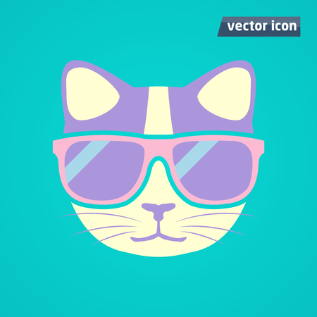 cat in sunglasses vector illustration.