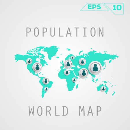 Population map on gray Vector template for presentation. Flat Design(for Logos, Flyers, Covers, Posters, Banner) Illustration