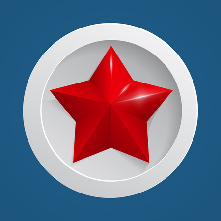 Red star with shadow icon