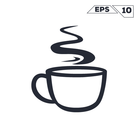 coffee cup smoke line illustration vector design