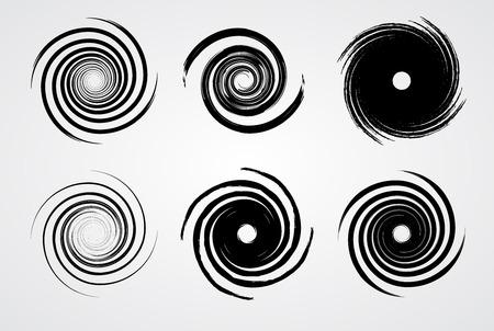 white wave: Black spiral swirl set circle with brush vector illustration.