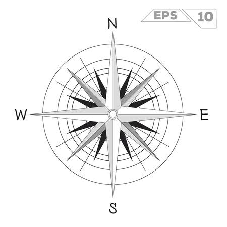 rose wind symbol for navigation compass vector illustration