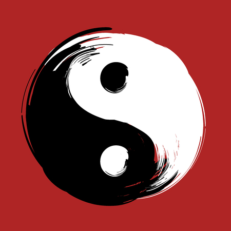 hand drawn with brush swirl spiral yin yang symbol