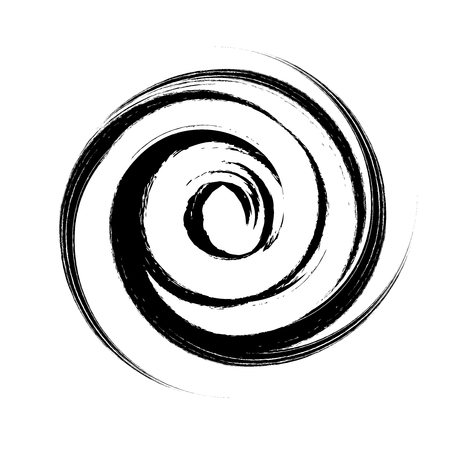 hand drawn with brush swirl spiral vector illustration