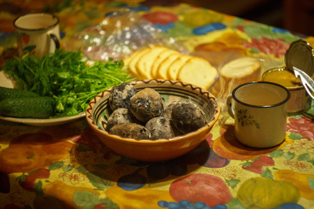 baked potato with bread ?ucumber parsley at home village style