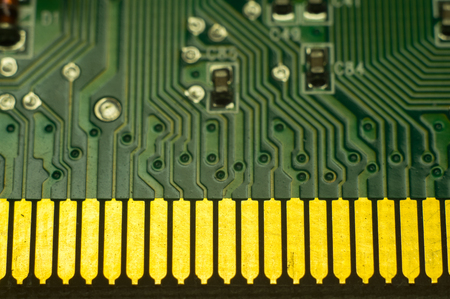Computer board chip. Electronic circuit board closeup