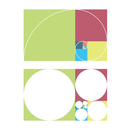 mathematics: Golden ratio template vector illustration fibonacci