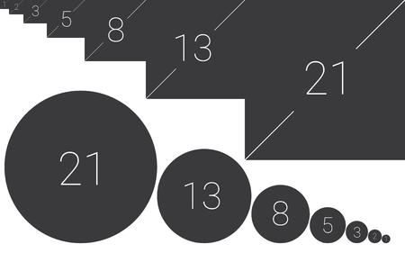 Golden ratio plantilla ilustración vectorial fibonacci Ilustración de vector