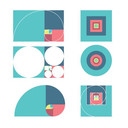 golden ratio: Golden ratio template vector illustration fibonacci