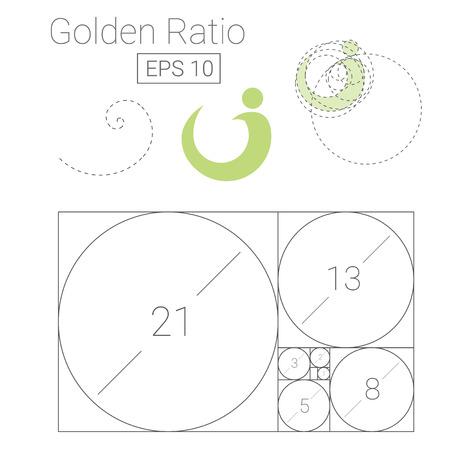 Gouden ratio sjabloon icoon Stock Illustratie