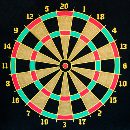 saturated: all in target darts game with saturated colors Stock Photo