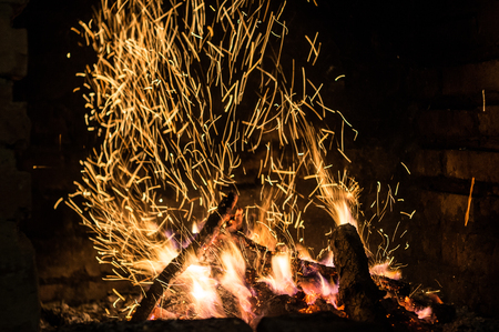 the fire in the furnace with sparks Stock Photo - 88076953