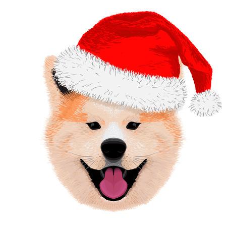 akita: cute akita merry christmas and happy new year Illustration