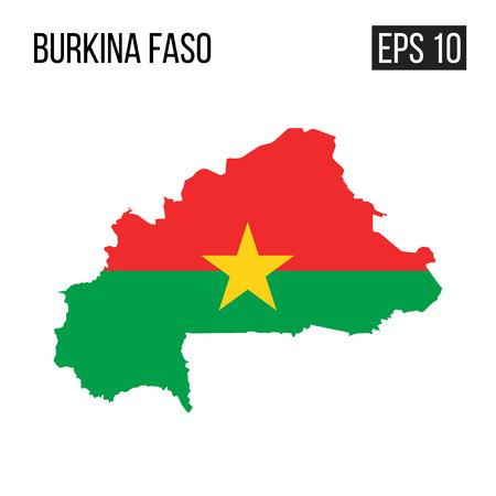 Burkina Faso map border with flag vector EPS10