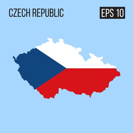 Czech republic map border with flag vector EPS10